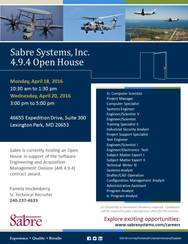 4 9 4 Open House Flyer for April 2016